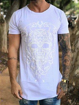Camiseta Longline Skull White - Evoque