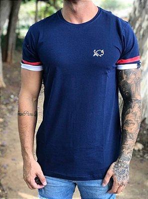Camiseta Longline Mango Stripes Marinho - Effel Culture