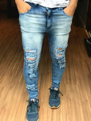 7f3a8fa7bcd87 calça jeans masculina azul skinny moletom king camisa tática jogger