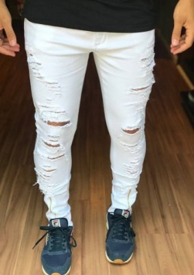Calça Skinny Destroyed White C/Zíper - Creed Jeans