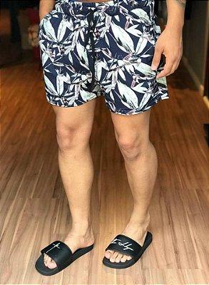 Shorts Moletinho Floral Azul - Austin Club