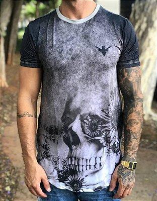 Camiseta Longline Skull - Evoque