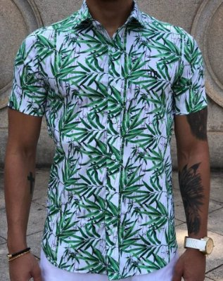 Camisa Manga Curta Bambu Branca - FB Exclusive Clothing