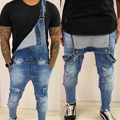 Macacão Jeans Destroyed Craquelado - Degrant