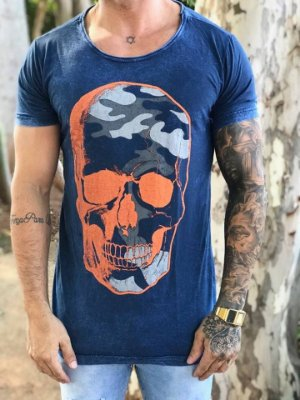 Camiseta Longline Skull Blue - John Jones