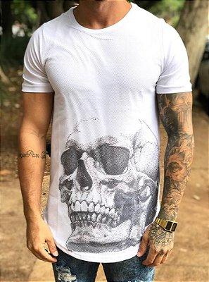 Camiseta Longline Tela Skull White - Austin Club