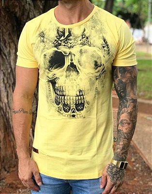 Camiseta Longline Skull Effect Yellow - Masterdom