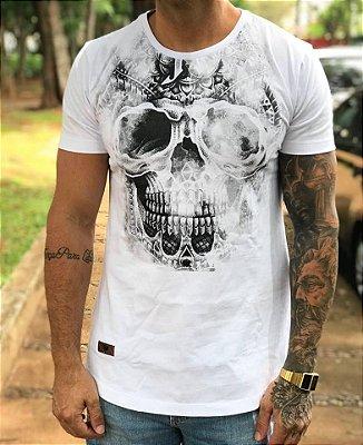 Camiseta Longline Skull Effect White - Masterdom