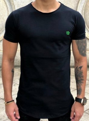 Camiseta Longline Logo Green Black - FB Exclusive Clothing