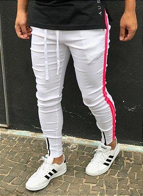 Calça Bengaline White Faixa Lateral Pink - Lacapa
