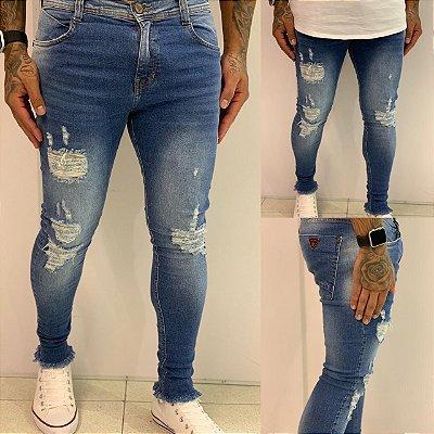 Calça Jeans Skinny Destroyed Médio Used - Degrant