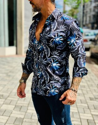 Camisa Social M/L Black Floral - Zip Off