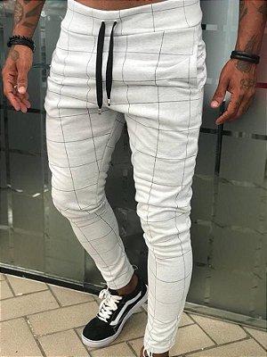 Calça Moletinho Quadriculada Cinza - Blessed Man