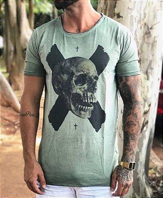Camiseta Longline Skull Estonada - John Jones
