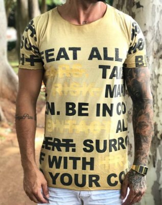 Camiseta Longline Yellow Frases - John Jones