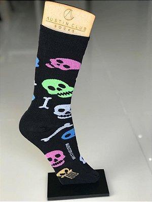 Meia Cano Alto Divertida Skull Colors - Austin Club
