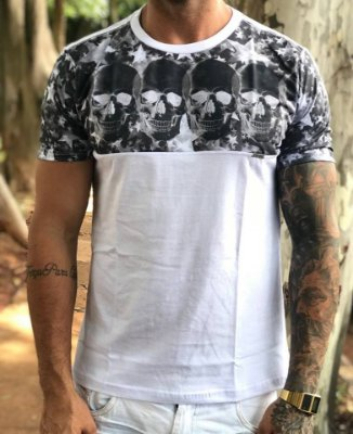 T-shirt Recorte Caveiras - Evoque