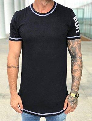 Camiseta Longline Basic Label Black - Buh