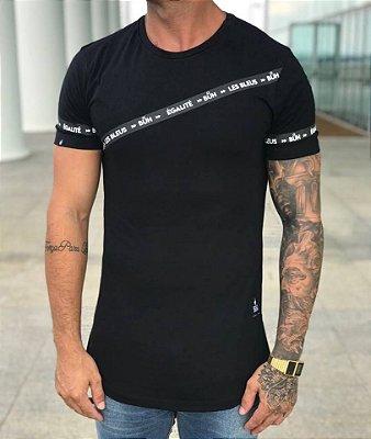 Camiseta Longline Faixa Egalité Black - Buh