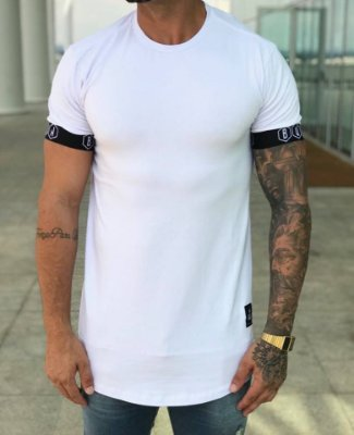 Camiseta Longline Elástico White - Buh