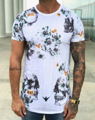 Camiseta Longline Caveira Flor - Evoque