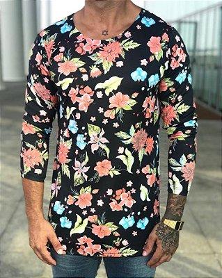 Camisa Manga Longa Hibisco Black - Exalt Urban