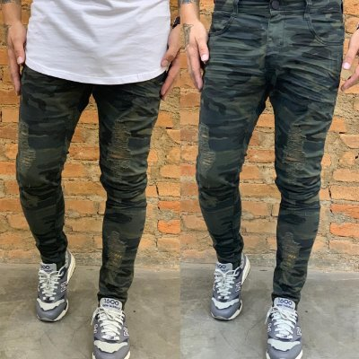 Calça Skinny Camuflada Destroyed - Degrant