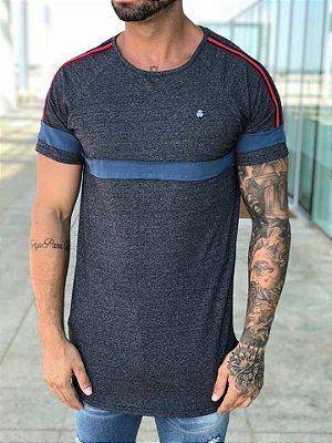 Camiseta Longline Recorte Faixa Grey - Kawipii