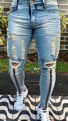 Calça Jeans Skinny Destroyed C/Zíper Clean - Codi Jeans
