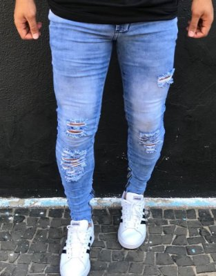 7a5575b4c Calça Jeans Skinny Destroyed 3D & Faixa Lateral - Kawipii - Imperium ...