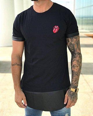 Camiseta Longline Rolling Stone Black - Evoque