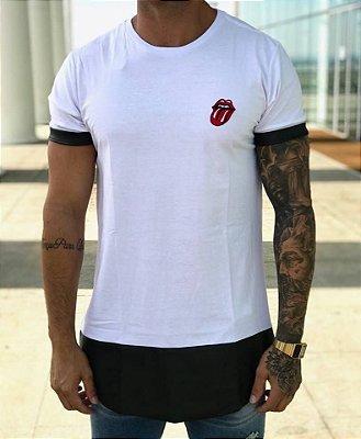 Camiseta Longline Rolling Stone White - Evoque