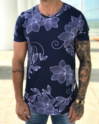 Camiseta Longline Flowers Blue - Lucksai