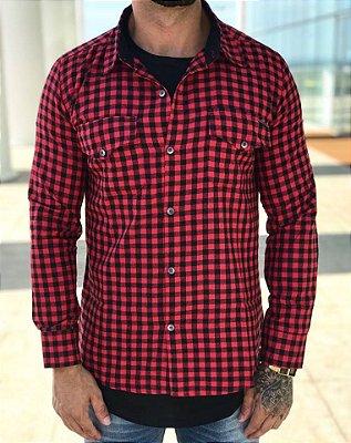 Camisa Xadrez Preto e Vermelho - Kawipii