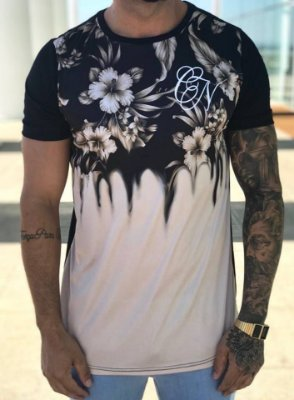 Camiseta Longline Flowers Brown - Conviction Clothing