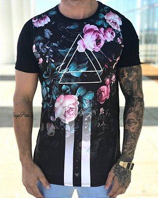Camiseta Longline Triangle Flowers - Conviction Clothing