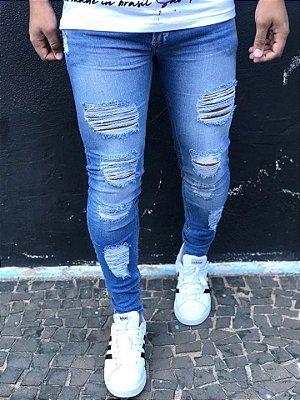 Calça Jeans Skinny Destroyed Foil - Zip Off