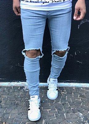 Calça Jeans Skinny Destroyed Rasgo Joelho - Zip Off