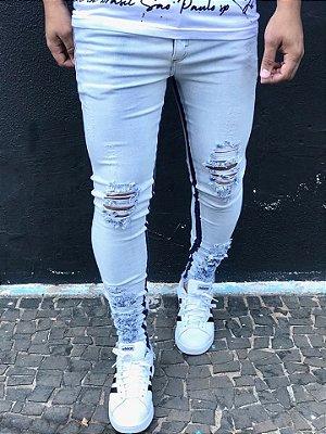 Calça Jeans Skinny Destroyed Delavê Faixa Int - Metal Carbono