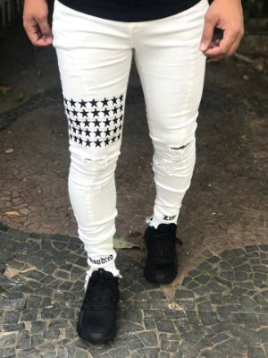 Calça Off White Skinny Stars - Hundred Limit