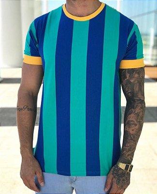 T-Shirt Listras Verticais Green & Blue - Metal Carbono