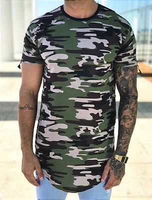 Camiseta Longline Camuflada - Metal Carbono