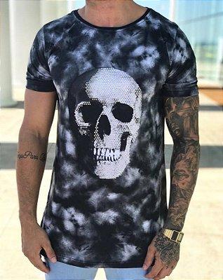 Camiseta Longline Estonado Skull Strass - Austin Club