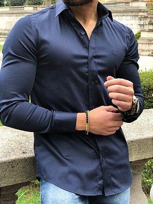 Camisa Social Manga Longa Marinho Acetinado - FB Exclusive Clothing