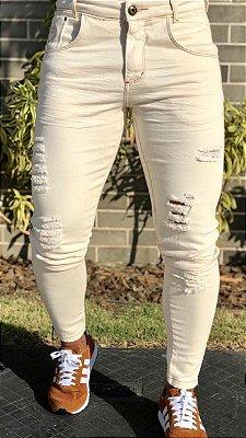 Calça Jeans Skinny Destroyed Bege - Codi Jeans
