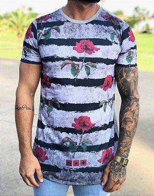 Camiseta Longline Faixas Horizontal - Evoque