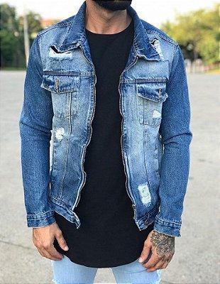 Jaqueta Jeans Destroyed C/Zíper - Metal Carbono