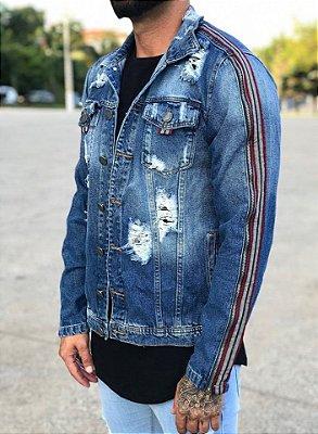 Jaqueta Jeans Destroyed Faixa Mangas - Degrant