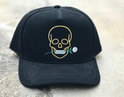 Boné Snapback Skull Rose Black - Totanka