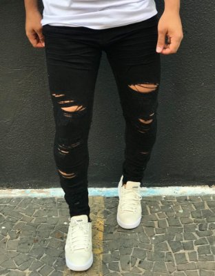 Calça Skinny Black Destroyed & Barra Desfiada - Degrant
